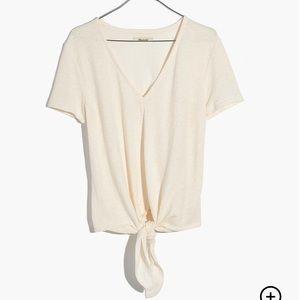Madewell Texture & Thread V-Neck Tie-Front Top szM